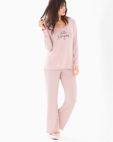 Soma Intimates Scoopneck Long Sleeve Pajama Set Dreamy Dot Vintage Pink SH