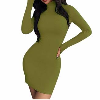 LOPILY Women's Jumper Dress Body-con Dress Solid Color Flattering Sexy Glamorous Slim Dress Turtleneck Long Sleeve Winter Dresses Mini Dress(Green 12 UK/L CN)