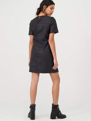 River Island Faux Leather Swing Mini Dress- Black