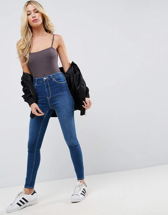 Asos RIDLEY Skinny Jeans In Astrala Blue With Contrast stitch