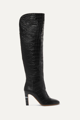 Gabriela Hearst Linda Croc-effect Leather Over-the-knee Boots - Black