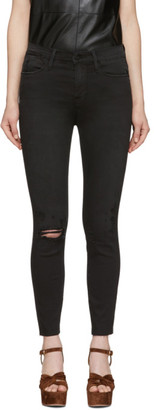 Frame Black Le High Skinny Cropped Jeans