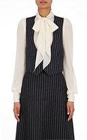 Saint Laurent Women's Pinstriped Shrunken Waistcoat-DARK GREY, GREY