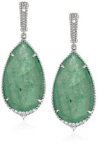 "Judith Ripka Arabesque"" Sterling Silver, Aventurine, and White Sapphire Drop Earrings"