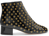 RED Valentino Embellished Patent-Leather Ankle Boots
