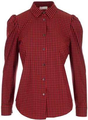 RED Valentino Puff Shoulder Plaid Shirt
