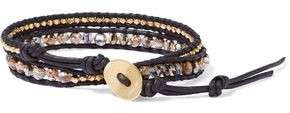 Chan Luu 18-karat Gold-plated Sterling Silver, Multi-stone And Leather Wrap Bracelet