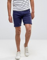 Asos Denim Shorts In Skinny Navy
