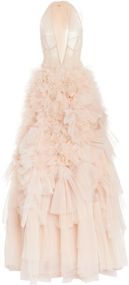 Marchesa Ruffled Bow-Embellished Tulle Halterneck Gown