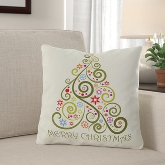 "Tavion Merry Christmas Whimsical Tree Throw Pillow The Holiday Aisle Size: 20"" H x 20"" W"