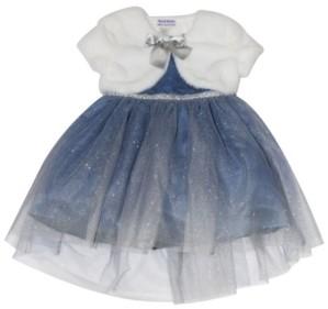 Blueberi Boulevard Toddler Girls Faux Fur Shrug Mesh Dress