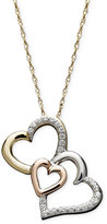 Treasured Hearts Triple Heart Diamond Pendant Necklace in 14k Gold, 14k Rose Gold and Sterling Silver (1/6 ct. t.w.)