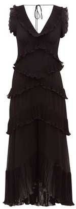 Zimmermann Super Eight Pleated-frill Chiffon Midi Dress - Womens - Black