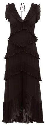 Zimmermann Super Eight Pleated-frill Chiffon Midi Dress - Womens - Black