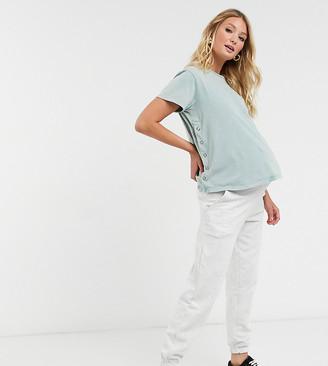 Asos Maternity   Nursing ASOS DESIGN Maternity nursing t-shirt with popper side in blue