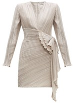 Givenchy Bow-embellished Plisse-satin Dress - Womens - Light Grey