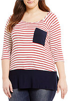 Moa Moa Plus 3/4 Sleeve Striped Shirttail Hem Pocket Tee