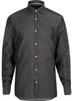 River Island MensGrey washed denim long sleeve shirt