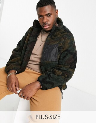 Brave Soul Plus camo borg zip through jacket with mixed panel