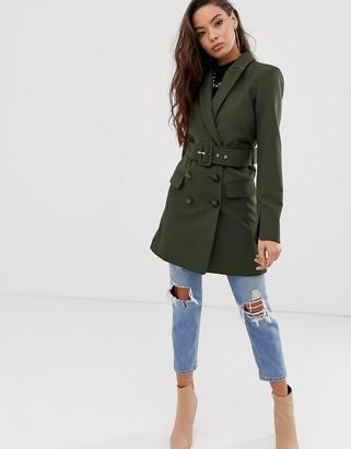 Asos Design DESIGN utility longline belted blazer in khaki-Green
