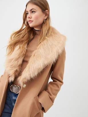 River Island Faux Fur Collar Longline Coat - Camel