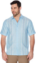 Cubavera Big & Tall Linen Blend Stripe Panel Shirt