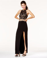 Speechless Juniors' 2-Pc. Illusion Lace Slit Gown, A Macy's Exclusive