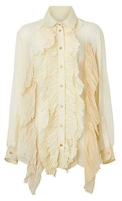Burberry Women's Crepon Ruffle Shirt