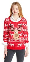 Isabella's Closet Women's Sequin Rudolph On Fair Isle Ugly Christmas Sweater