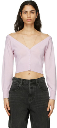 Alexander Wang Purple Fitted Cropped Cardigan