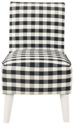 HomePop Kid's Modern Slipper Chair - Mini Black Plaid