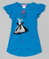 Turquoise Bow & Skirt Angel-Sleeve Tee - Girls