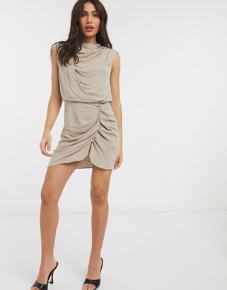 ASOS DESIGN drape front linen mini dress with shoulder pads in taupe