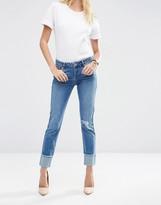Asos Kimmi Shrunken Boyfriend Jeans in Rio Wash with Deep Turn Ups