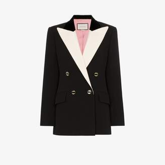 Gucci contrast lapel double-breasted tuxedo jacket