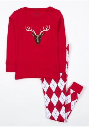 Leveret Reindeer Argyle Pajama Set