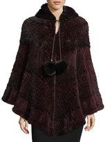 La Fiorentina Colorblock Mink Fur Poncho, Brown