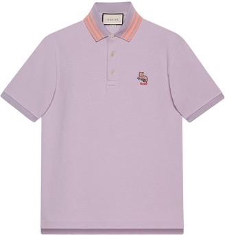 Gucci Cat Patch Pique Polo Shirt
