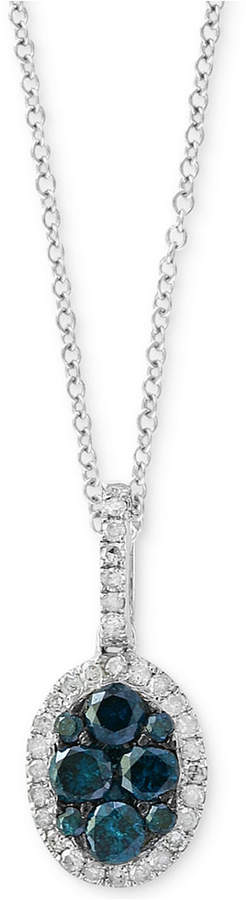 Effy Diamond Halo Pendant Necklace (1/2 ct. t.w.) in 14k White Gold