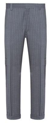 HUGO BOSS Tapered Fit Pants In Pinstripe Virgin Wool - Silver