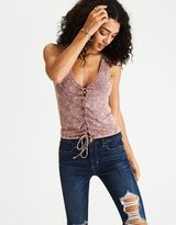 American Eagle Outfitters AE Soft & Sexy Ribbed Lace-Up Tank