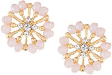 Greenbeads by Emily & Ashley Golden Flower Stud Earrings, Pink