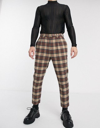 Asos Design DESIGN tapered crop smart trousers in camel tartan check-Beige