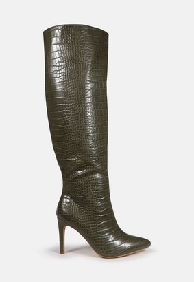 Missguided Croc Over The Knee Mid Heel Boots
