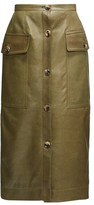 Marni Button-down Leather Midi Skirt - Womens - Green