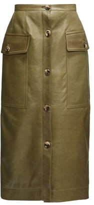 Marni Button-down Leather Midi Skirt - Green