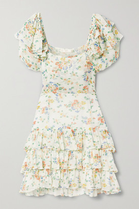 LoveShackFancy Kimbra Tiered Floral-print Silk-chiffon Mini Dress - Off-white