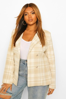 boohoo Plus Military Button Check Fitted Blazer