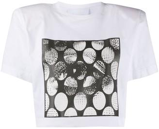 NO KA 'OI padded shoulder cropped T-shirt