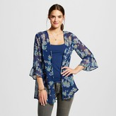 Xhilaration Women's Ruffle Sleeve Kimono Jacket Navy Juniors')